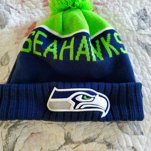 Seattle Seahawks New Era Cuffed Knit Hat with Pom